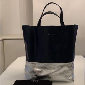 Alice D Large Navy/Silver leather color block tote